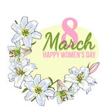 Womens day, 8 March greeting card design with white flowers. Happy womens day, 8 March greeting card, poster, banner design with wreath of white lily flowers vector illustration