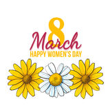 Womens day, 8 March greeting card design with wild flowers. Happy womens day, 8 March greeting card, poster, banner design with three wild flowers, yellow and vector illustration