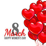 Womens day, 8 March greeting card, poster, banner design with red and pink heart shaped balloons. Happy womens day, 8 March greeting card, banner design with red vector illustration
