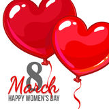 Womens day, 8 March greeting card, poster, banner design with red and pink heart shaped balloons Royalty Free Stock Image