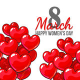 Womens day, 8 March greeting card, poster, banner design with red and pink heart shaped balloons. Happy womens day, 8 March greeting card, banner design with red stock illustration