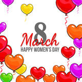 Womens day, 8 March greeting card, poster, banner design with red and pink heart shaped balloons. Happy womens day, 8 March greeting card, banner design with vector illustration