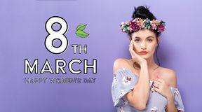 Womens Day message with beautiful woman with a garland Royalty Free Stock Photos
