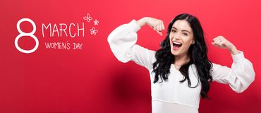 Womens Day message with powerful woman. Womens Day message with powerful young woman stock photography