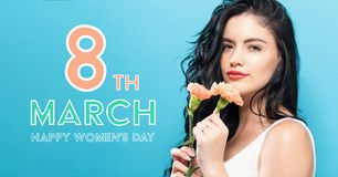 Womens Day message with woman with carnaion Stock Images