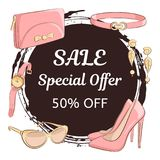 Women day or mother day sale concept. Hand drawing female accessories, shoes, clutch, glasses, earrings, belt, watch is located ar. Womens day or mothers day Royalty Free Stock Images