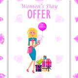 Womens Day Offer Promotion Poster Illustration. Womens Day offer promotion poster. Woman with tulips, pink bag, purple balloon and bunch of gifts on diamond stock illustration