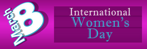 Womens Day Pink Blue Horizontal. 8 March - international womens day - pink and purple background stock illustration