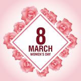Womens day pink card. Icon vector illustration graphic design Stock Image