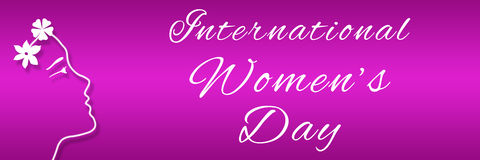 Womens Day Pink Face Horizotal. 8 March - international womens day - pink and purple background royalty free illustration