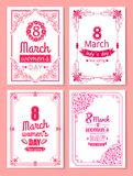 Womens Day Postcard with Big Sign and Swirly Frame. 8 March card in bright pink color with italic font and vintage framework vector illustrations set Royalty Free Stock Photos