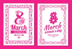 Womens Day Postcard with Big Sign and Swirly Frame. 8 March card in bright pink color with italic font and vintage framework vector illustrations set Royalty Free Stock Photography