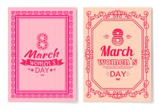 Womens Day Postcard with Big Sign and Swirly Frame. 8 March card in bright pink color with italic font and vintage framework vector illustrations set Stock Images