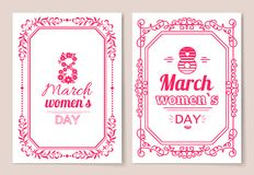 Womens Day Postcard with Big Sign and Swirly Frame. 8 March card in bright pink color with italic font and vintage framework vector illustrations set Stock Photos