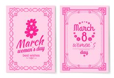 Womens Day Postcard with Big Sign and Swirly Frame. 8 March card in bright pink color with italic font and vintage framework vector illustrations set Stock Photography