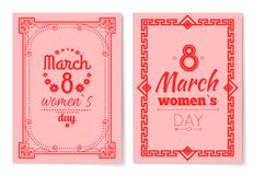 Womens Day Postcard with Big Sign and Swirly Frame. 8 March card in bright pink color with italic font and vintage framework vector illustrations set Royalty Free Stock Photo