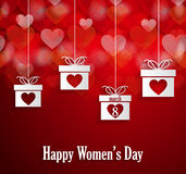 Womens day poster with hanging gift Stock Photography