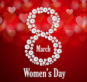 Womens Day poster. Red background Royalty Free Stock Photos