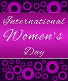 Womens Day Purple Pink Circles. 8 March - international womens day - pink and purple halftone background royalty free illustration