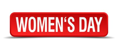 Womens day red 3d button isolated on white. Womens day red 3d square button isolated on white Stock Photography