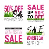 Womens Day Sale Bagdes Collection, Set Of Discount Stickers Template Promotion Banners. Vector Illustration Stock Photography
