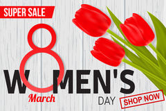 Womens Day sale design for web banner, flyer or background composition with red tulips. Stock Image