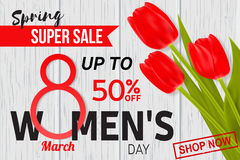 Womens Day sale design for web banner, flyer or background composition with red tulips. Stock Photos
