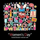 Womens day set.Fashion patch badges collection. Stock Images