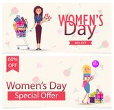 Womens Day Special Offer 60 Off Advertisement royalty free illustration