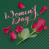 Womens Day text lettering and red rose on transparent background. Template for greeting card on March 8 Stock Images