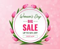 Women`s day sale banner with tulips around circle on pink bokeh background. stock illustration
