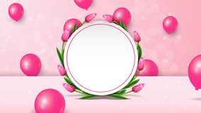 Women`s day sale background with 3d balloons and tulips with empty space. stock illustration