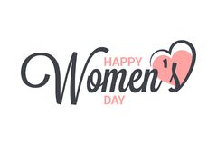 Womens day vintage lettering. 8 march design on white background. 8 eps vector illustration