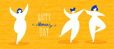 Womens day web banner with happy girls dancing. Women`s day illustration of happy girls dancing in simple flat style for woman holiday celebration. Horizontal stock illustration