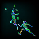 Womens doubles badminton players. Color vector illustration Stock Photos
