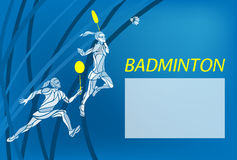 Womens doubles badminton players. Color vector illustration Royalty Free Stock Image