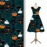 Womens dress fabric with halloween pattern Stock Photos
