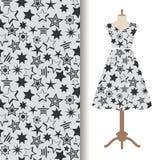 Womens dress fabric pattern with stars stock illustration