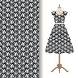 Womens dress fabric starry pattern stock illustration