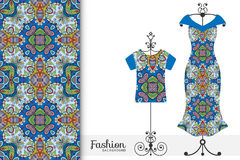 Womens dress and t-shirt on a hanger with seamless geometric pattern. Vector fashion illustration. Stock Images