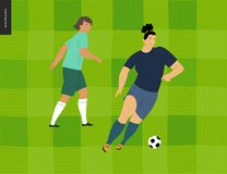 Womens European football, soccer player. Flat vector illustration - two young weman wearing european football player equipment kicking soccer ball on Stock Photos