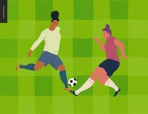 Womens European football, soccer player. Flat vector illustration - two young weman wearing european football player equipment kicking soccer ball on Stock Photography