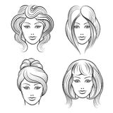Womens faces with different hairstyles. Womens faces line icons. Female heads with different hairstyles. Vector illustration Royalty Free Stock Image