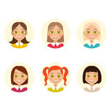 Womens faces. hair color and hairstyles. Vector Royalty Free Stock Images