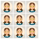 Womens faces. Womans face with different emotions. Vector Stock Photography