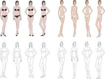 Womens fashion figures. Vector illustration. Set of womens fashion figures. Different poses and body types Royalty Free Stock Images