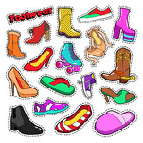 Womens Fashion Shoes and Boots Set for Stickers, Patches Stock Photography