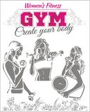 Womens Fitness GYM - vector stock Royalty Free Stock Image