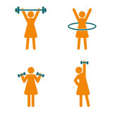 Womens Fitness icons set. Fitness logo. Womens Fitness icons set. Orange and blue fitness logo Stock Images