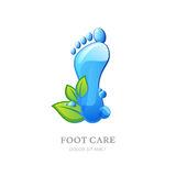 Womens foot care  logo, label design. Female sole with clean water texture and green leaves. Stock Photo